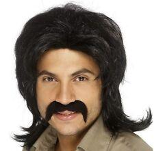 AÑOS 70 1970s 70's Retro Hombre Disfraz Peluca y bigote negro NUEVO por Smiffys