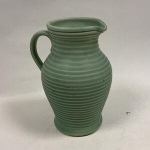 Lovatts Studio Pottery Mint Green Ribbed Vase Jug Art Deco Stoneware 1920s