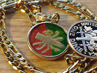 """1883 Mexican Republic Hand Enameled coin Pendant on a 22"""" 18k Gold Filled Chain"""