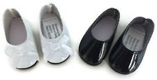 "White & Black Dress Shoes for 14.5"" American Girl Wellie Wishers Wisher Dolls"