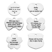 Text Engraved Stainless Steel Heart Dog Tags Name ID Phone Puppy Pet Collar
