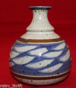 "Studio Art Pottery Artist Signed DW Flower Vase Brown Blue Beige 4 1/8"" Tall"