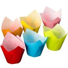 Multi couleur tulipe wraps x24 cupcake cases baking cups décoration gâteau fête