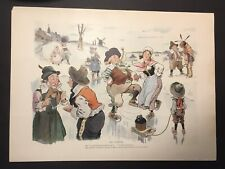 1630's Dutch Manhattan ( Ice Skating ) Colored Lithograph c. 1899 New Amsterdam