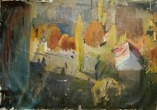 Russian Ukrainian Soviet Oil Painting Cityscape Kiev Impressionism autumn 1960s