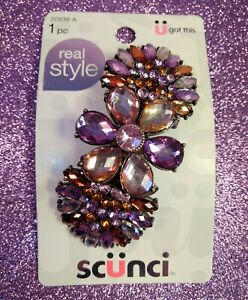 SCUNCI Purple Pink Amber Crystal Rhinestone Hair Barrette Clip Real Style Bling