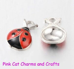 10 x Tibetan Silver & Red Enamel LADYBIRD INSECT BEETLE Charms