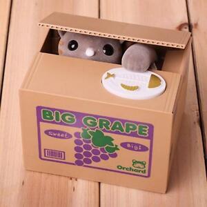 COIN STEALING CAT BANK Itazura Mechanical 3 COLORS Kitty Kids Piggy Bank Gift