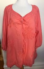 NOUVELLE WOMAN Coral Cotton Embroidered Flower Tie Front 3/4 Sleeve Smock Top 16