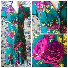 Betsey Johnson Dress 1930s Floral Rose Teal Buttons Tea 2 XS Pin Up Retro 40s