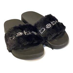 bebe Furiosa Fluffy Faux Fur Slide Sandals Black Rhinestones Womens Shoe Size 6