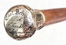Vintage Antique Rfs Co Presentation Gold Filled Swagger Knob Walking Stick Cane