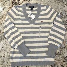 Polo Ralph Lauren Jeans Co. Women's V Neck Sweater Grey White Striped XL