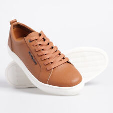 Superdry Truman Leather Lace Up Shoes Trainers Casual - Tobacco