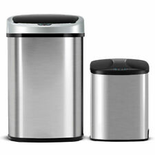 Set of 2 Touch-Free Motion Sensor Bin Trash Can 13 & 2.3 Gallon Stainless Steel