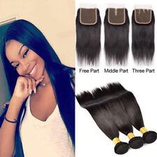 Straight Hair 3 Bundles Weave With Lace Closure Virgin Peruvian Human Hair Weave