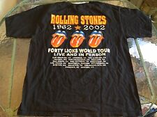 Rolling Stones Forty Licks World Tour 1962-2002 Concert Shirt Size XL