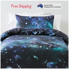 Single Bed Quilt Cover Set Kids Bedding Bedspread Girls Boys Room Stars Galaxy