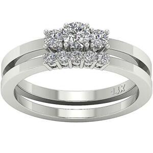 Bridal Engagement Ring 0.90 Carat SI1 G Natural Diamond 14K White Gold Prong Set
