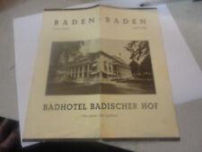 Vintage Baden-Baden Black Forest Badhotel Badischer HOF Brochure