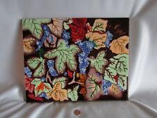 Large Ceramic Tile Kitchen Grapes Leaves 14 x 11 Textured Wine Lover Unique Rare