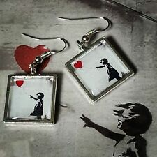 Unique BANKSY EARRINGS graffiti GIRL WITH A RED BALLOON cool STENCIL art URBAN
