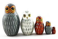 Matryoshka Russian Nesting Doll Babushka Wooden Eagle Owl Family 5 Pcs