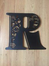 Metal letter R wall hanging floral filigree black