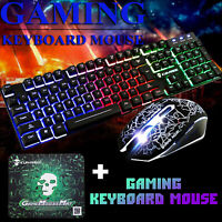 Gaming Keyboard Mouse Set Rainbow LED Wired USB For PS4 /Xbox One/PC Laptop US