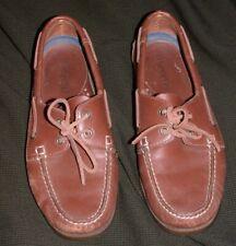 LANDS END Mens Size 8 1/2 D 8.5D Brown Leather Topsider Boat Shoes Tan