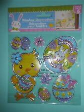 NEW FOIL Spring Easter Eggs Chick Flower Window Sticker Clings Decorations 7 pc