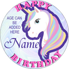 UNICORN CHILDRENS PERSONALISED NAME BIRTHDAY BADGE GLITTERY AND SPARKLES
