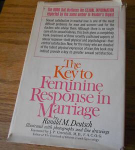 1968 Key to Feminine Response in Marriage. Ronald Deutsch. 1st Ed. marriage.