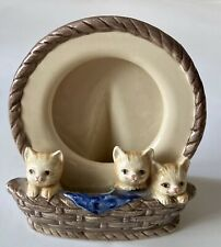 Vintage Otagiri Ceramic Kittens In Basket 4� Picture Frame Very Cute Collectible