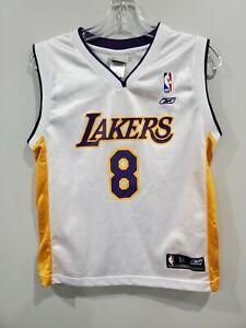 VTG Reebok NBA Los Angeles Lakers Kobe Bryant 8 White Basketball Jersey Youth M