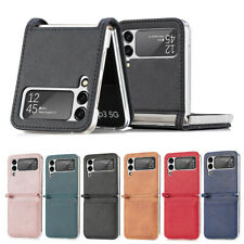 PC Solid PU Leather Phone Case Cover For Samsung Galaxy Z Flip 3 5G Card Holder