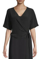 Eileen Fisher Tensel Viscose Crepe V-neck Wrap Top Blouse Black Sz PM $258 New