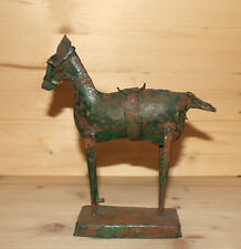 Antique hand made abstract horse metal figurine