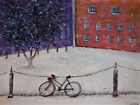 """Original oil painting, cityscape, signed, by Nalan Laluk: """"Rideable"""""""