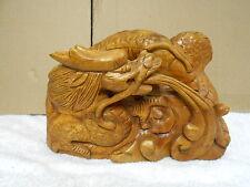 vintage wood hand carved fierce dragon animal statue figurine
