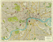 LONDON. General plan of London 1926 old vintage map chart
