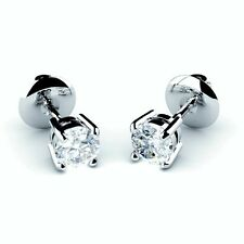 Sale..!! 1.25Ct Round Diamond Screw back Stud Earrings in 18k White Gold