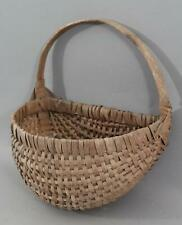 Small Antique New England Primitive Splint Half Buttocks Basket Dry, NR