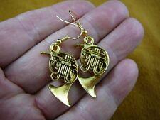 (M208-H) Holton FRENCH HORN 24k gold plt earrings JEWELRY horns earring pierced