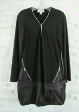 Joseph Ribkoff Black Stretch Jersey Zip Neck Elastic Tech Hem Tunic Dress 6 8