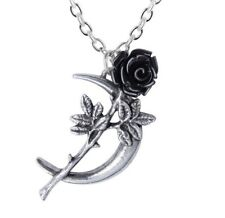 Romance Crescent Moon Black Rose Stem Garden Pendant Alchemy Gothic P843