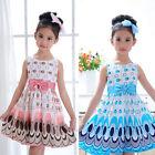 1x Split New Kids Girls Bow Belt Sleeveless Bubble Peacock Dress Party Clothing