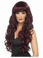 Smiffys Siren Wig -  Long and Curly with Fringe - Maroon