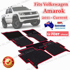 Waterproof Rubber Floor Mats Tailored Volkswagen Amarok 2011 - 2017 Dual Cab Red