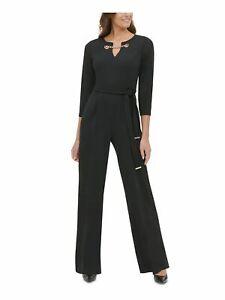 TOMMY HILFIGER Womens Black Long Sleeve V Neck Wide Leg Jumpsuit  Size 4